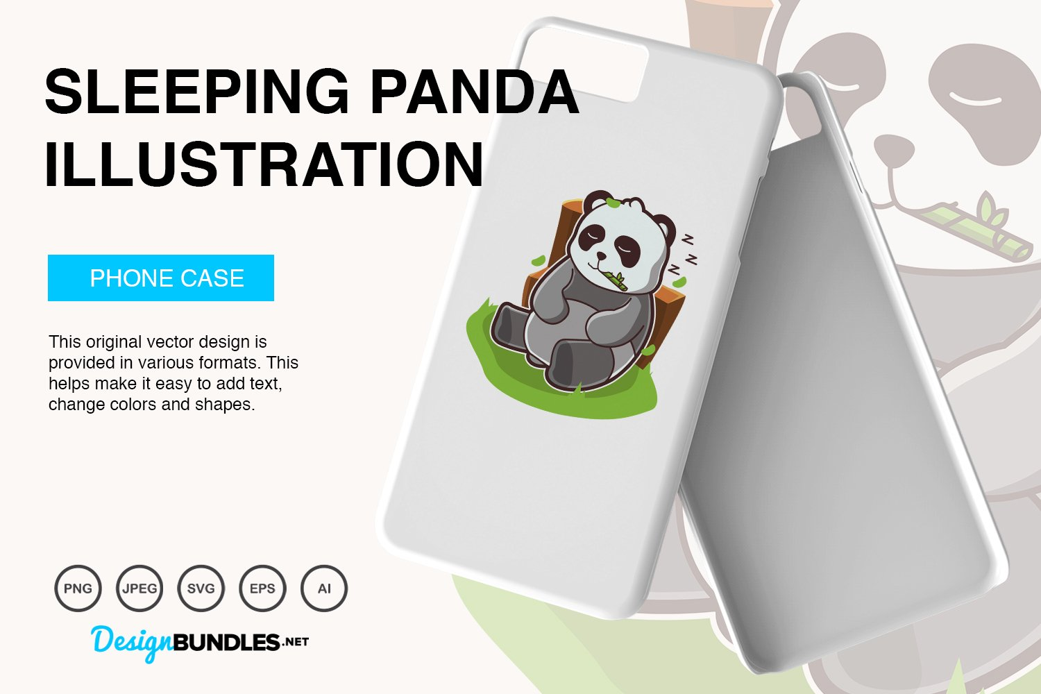 Sleeping Panda Vector Illustration example image 4