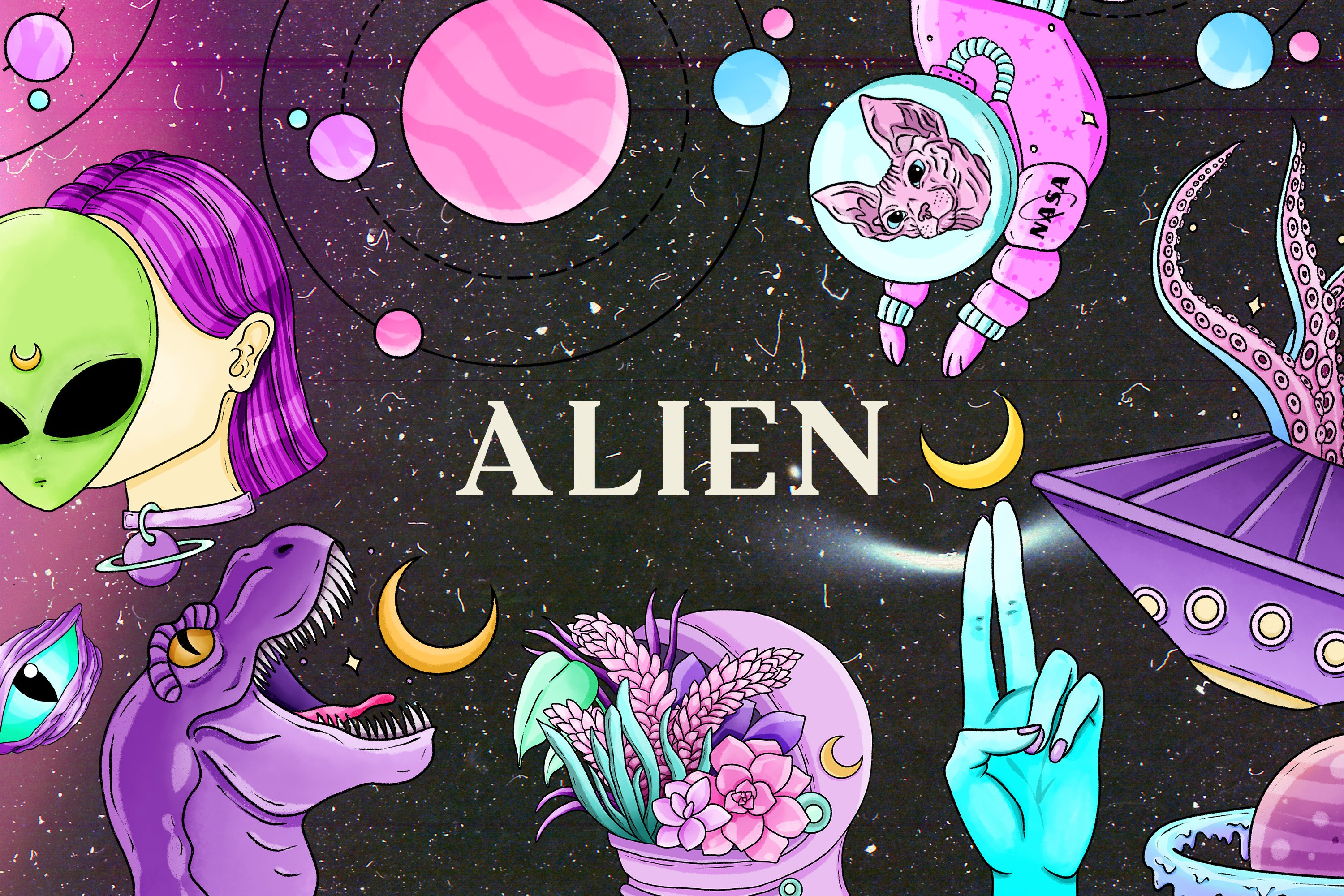 Alien clipart, Space clipart, Pastel goth clipart, UFO png example image 1
