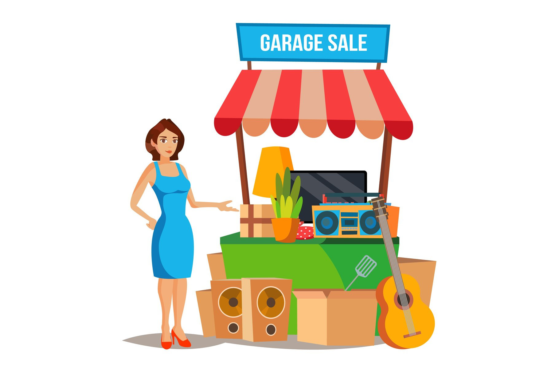 Yard Sale Vector. Household Items Sale. Woman Manning a example image 1