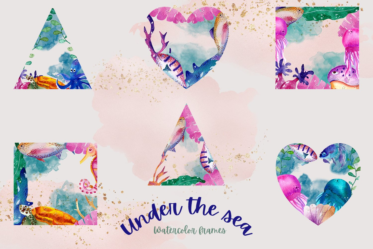 Under the Sea Watercolor Frames example image 2