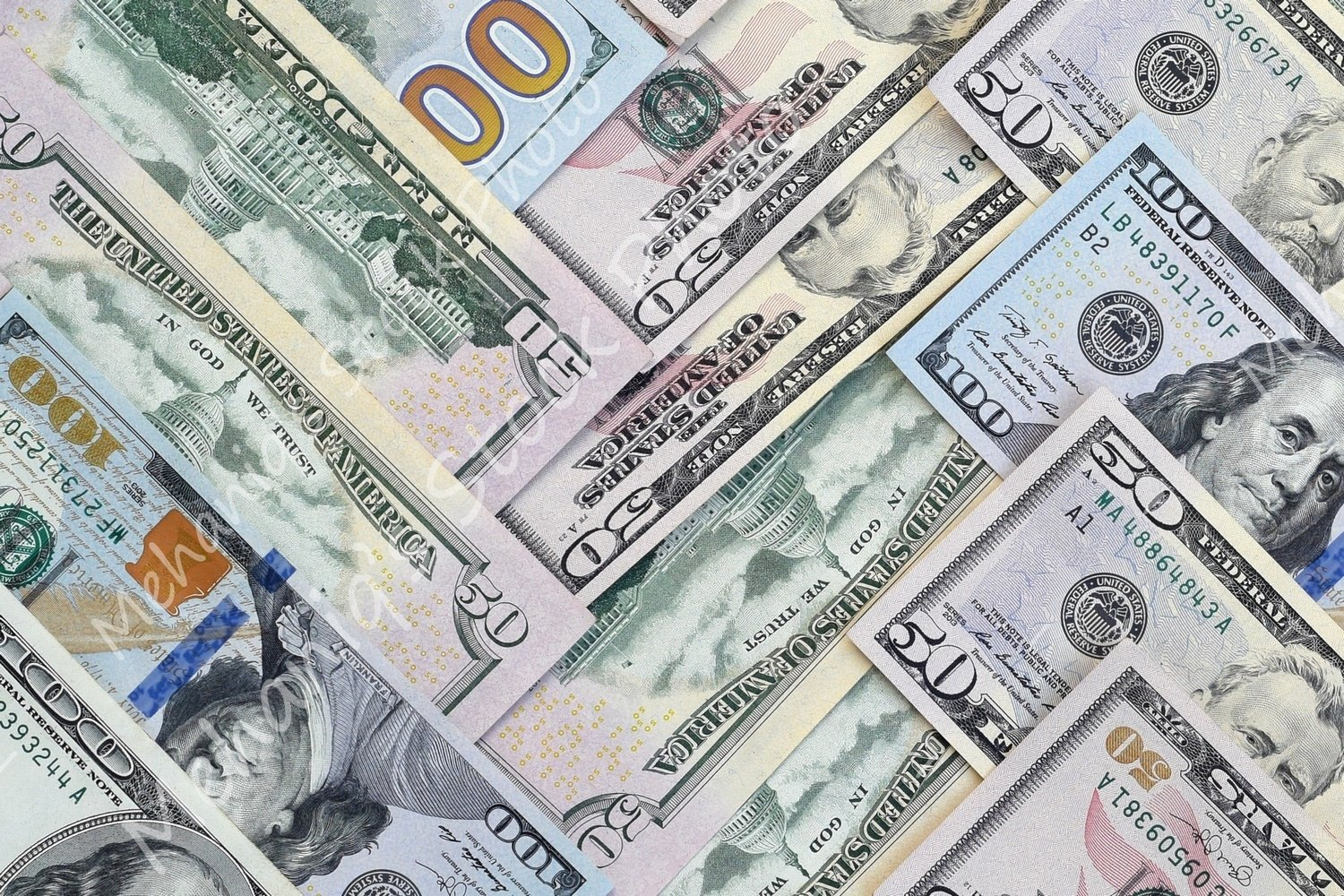 Many american dollar bills close up example image 2