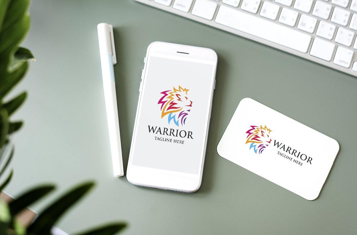 Warrior Lion Letter W Logo example image 3