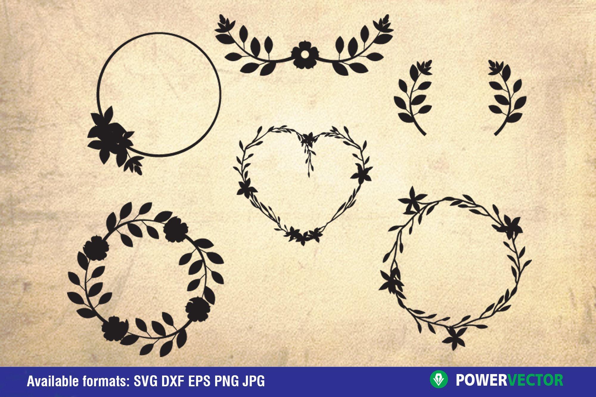 Flowers and Laurel Wreaths SVG Bundle example image 5