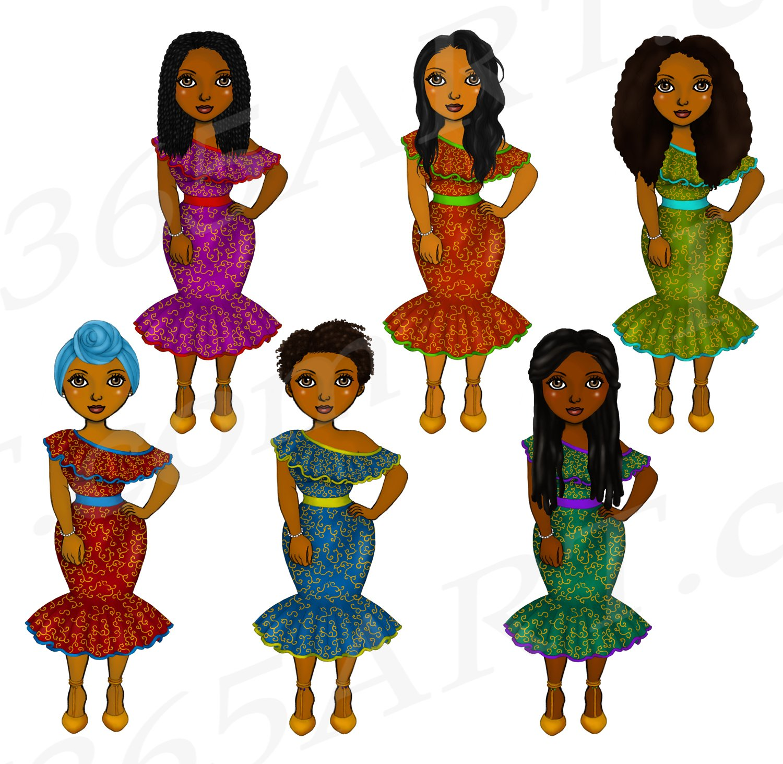 Beautiful Ankara Clipart Black Girl African Natural Hair PNG example image 2