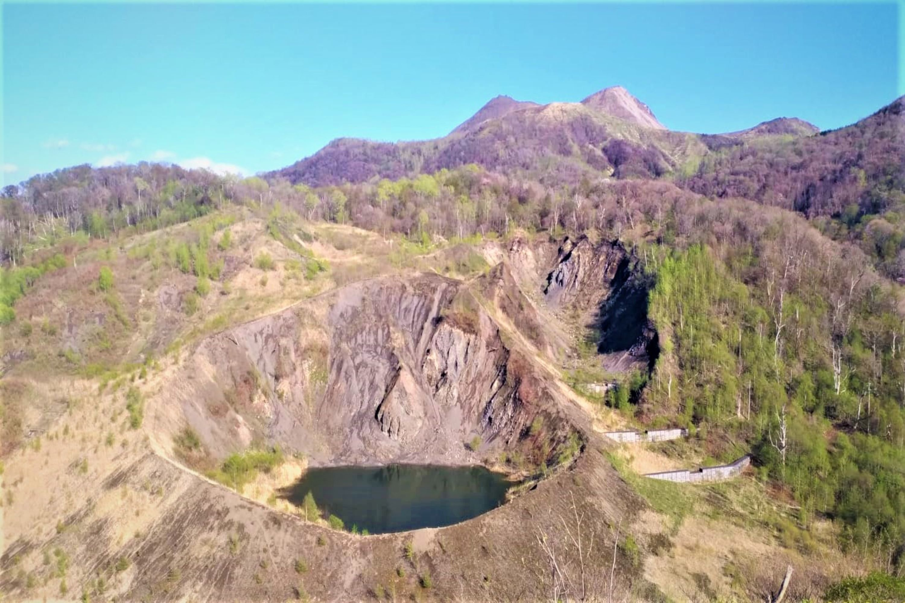 Ancient Volcano crater by Mount Usu in Japan example image 1