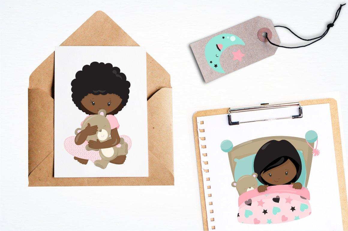 African American Kids bedtime graphics - vectors example image 4