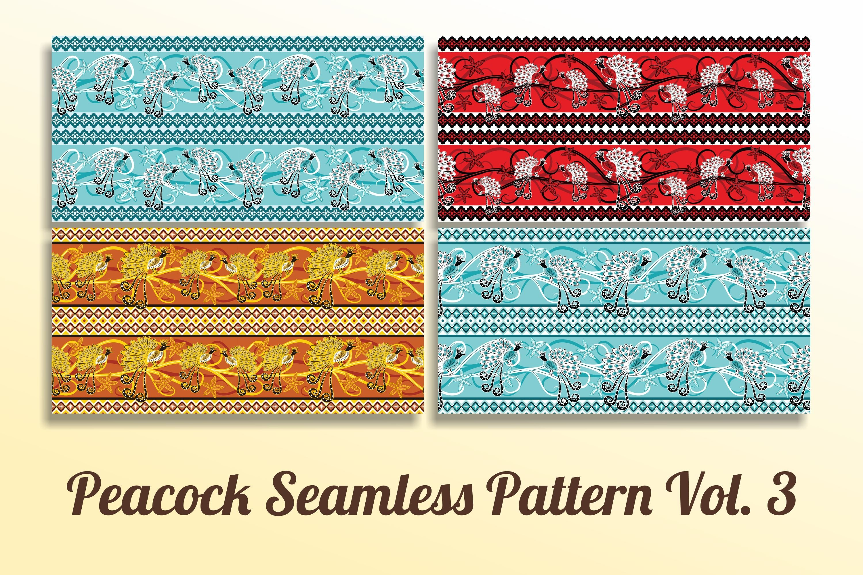 Peacock pattern with vintage style Vol. 3 example image 1