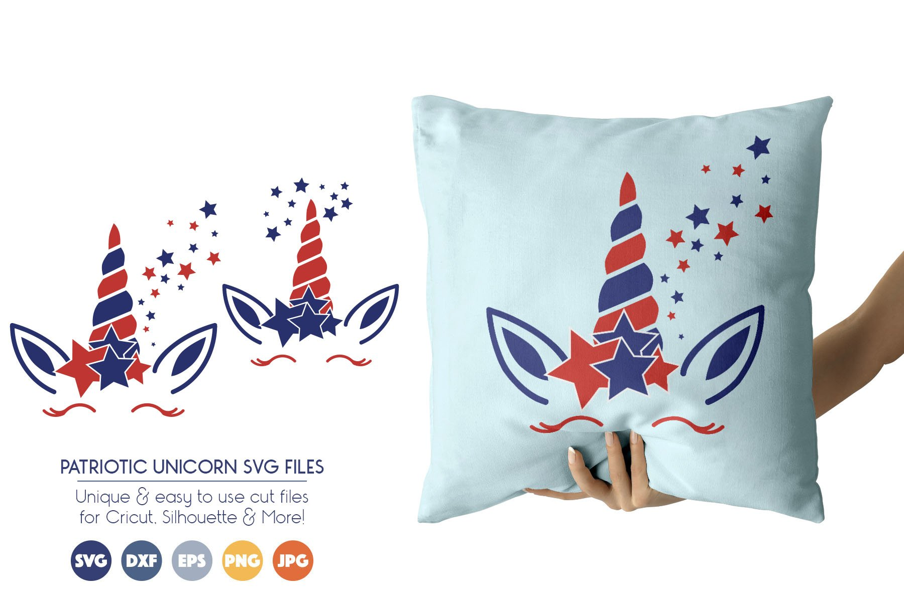 Patriotic Unicorn SVG Cut Files - July 4th example image 1