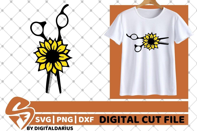 4x Hairdresser Designs Bundle svg, Hairstylist, Sunflower example image 4
