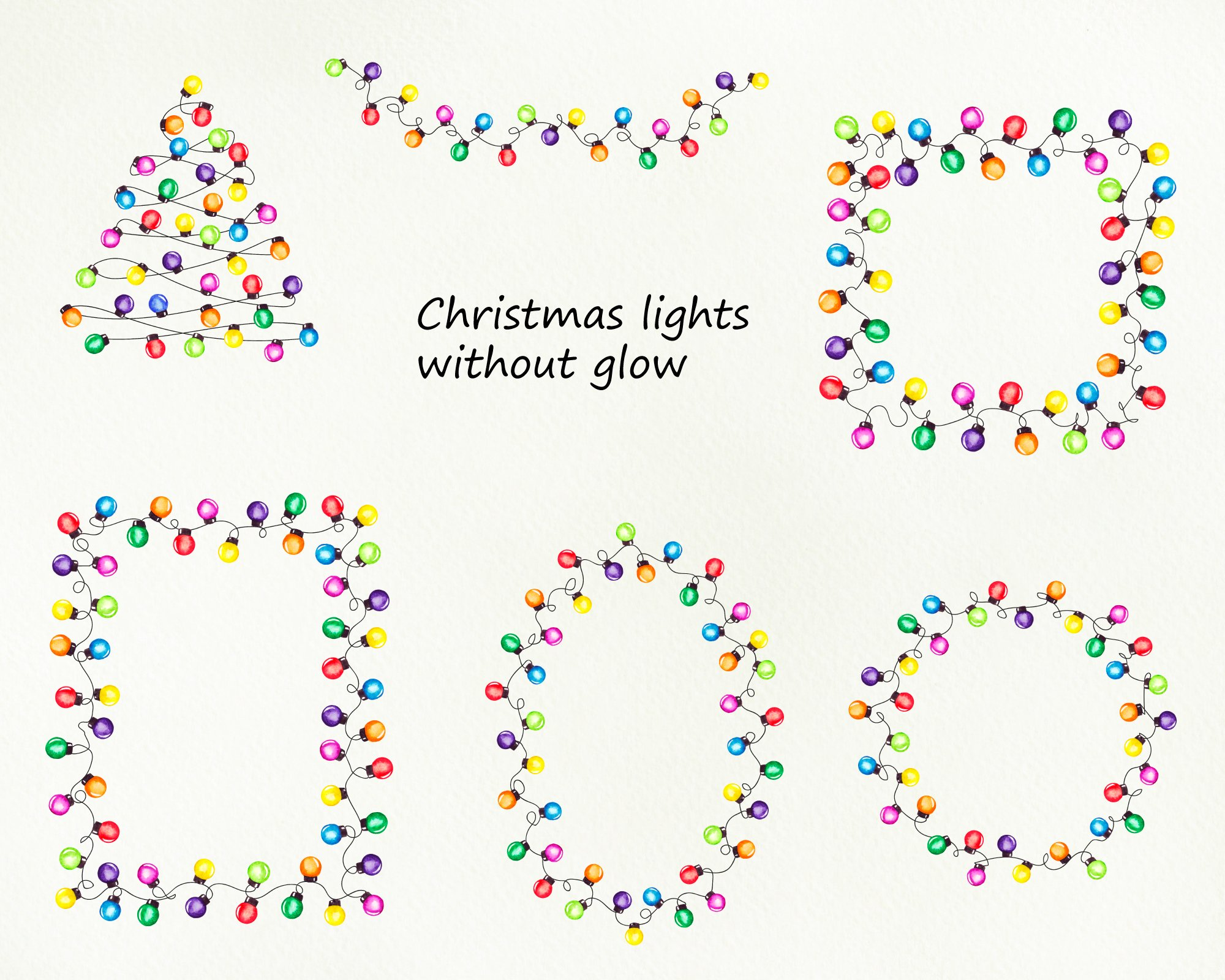 String of Christmas lights clipart, border, frame png example image 5
