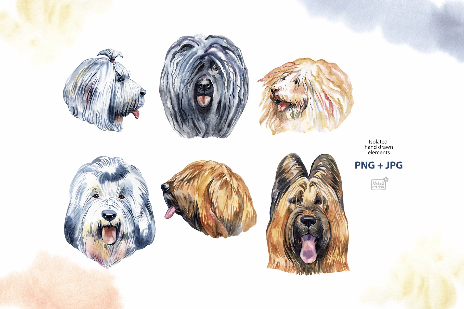 Watercolor herding dogs example image 3