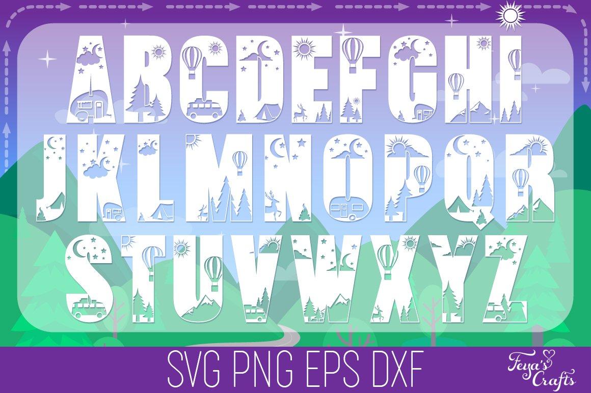 Camping SVG Alphabet, Camper SVG, Camping SVG Files Pack example image 3