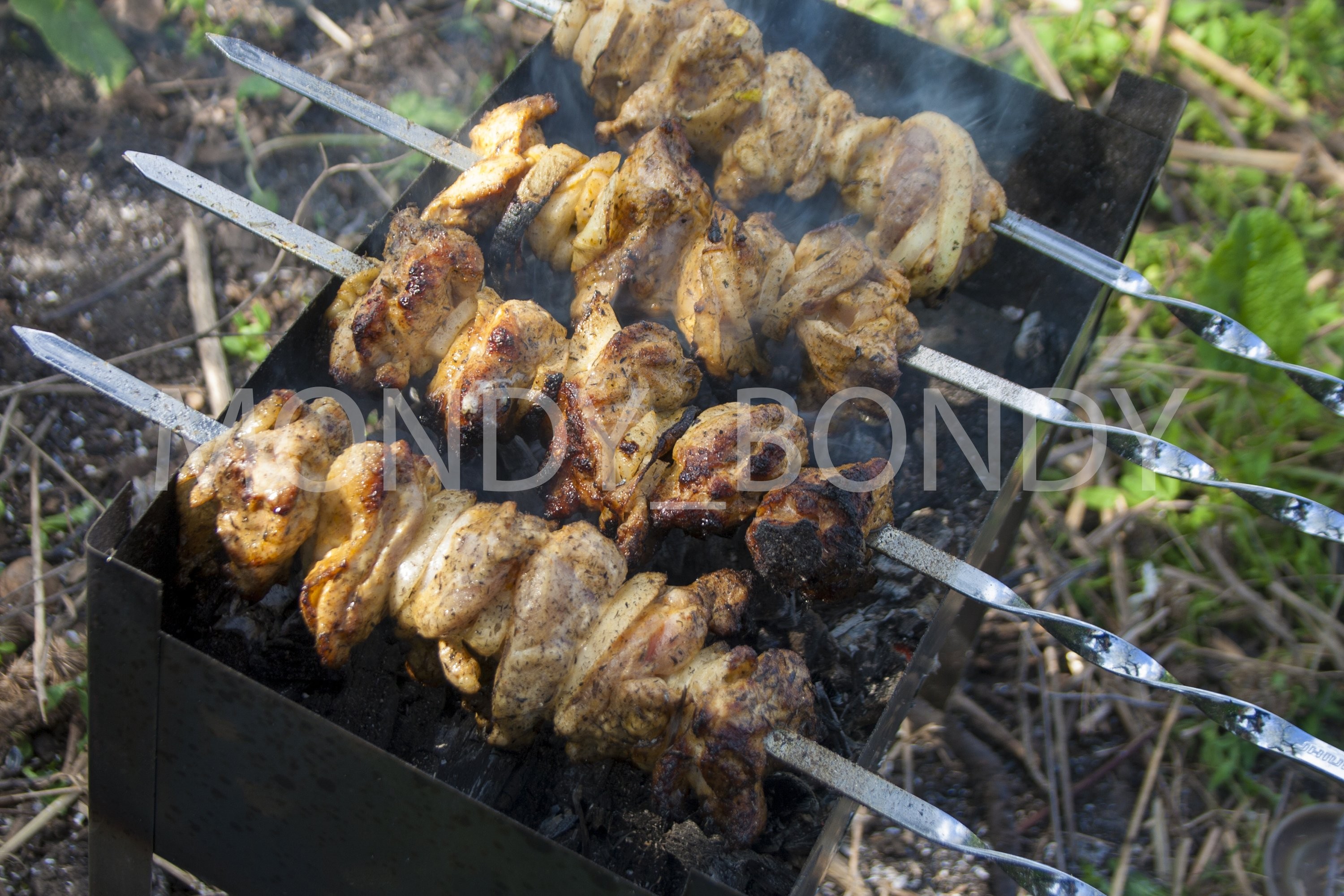 Grilled meat on the grill example image 1