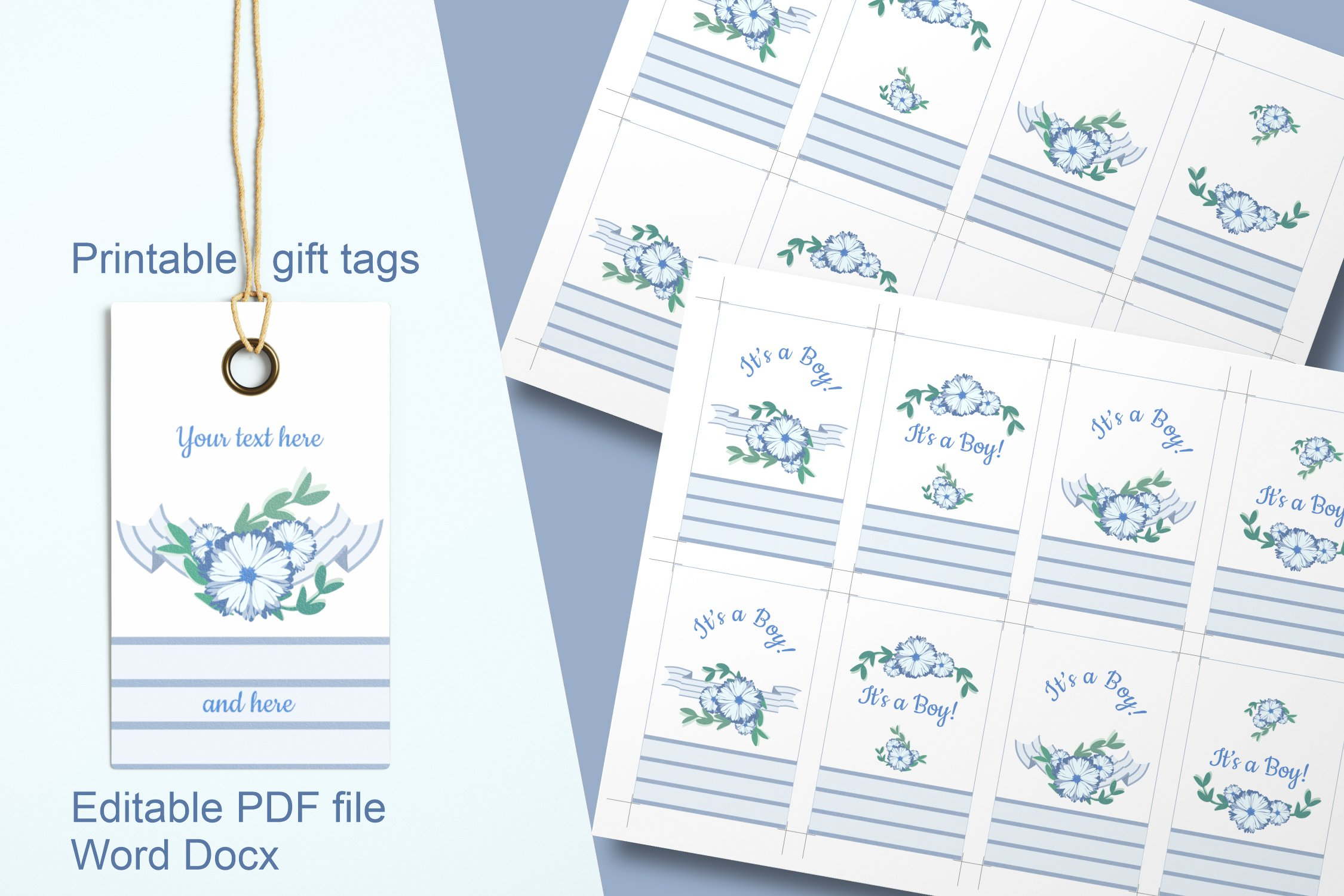 Blue Baby Shower Floral Gift Tags Editable PDF Word Template example image 1