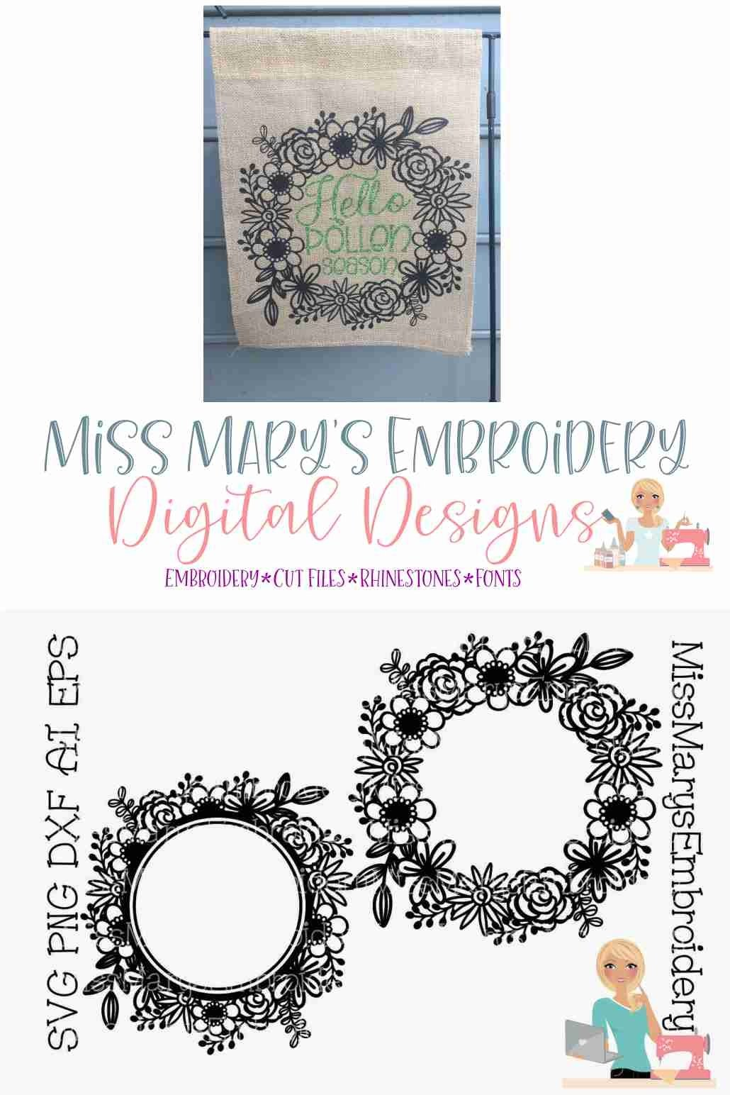 Flower Monogram Wreath Svg Flower Monogram Svg Spring Svg 521136 Cut Files Design Bundles