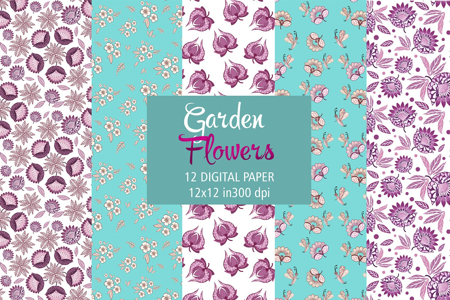 Turquoise and Succulent pink digital papers example image 1