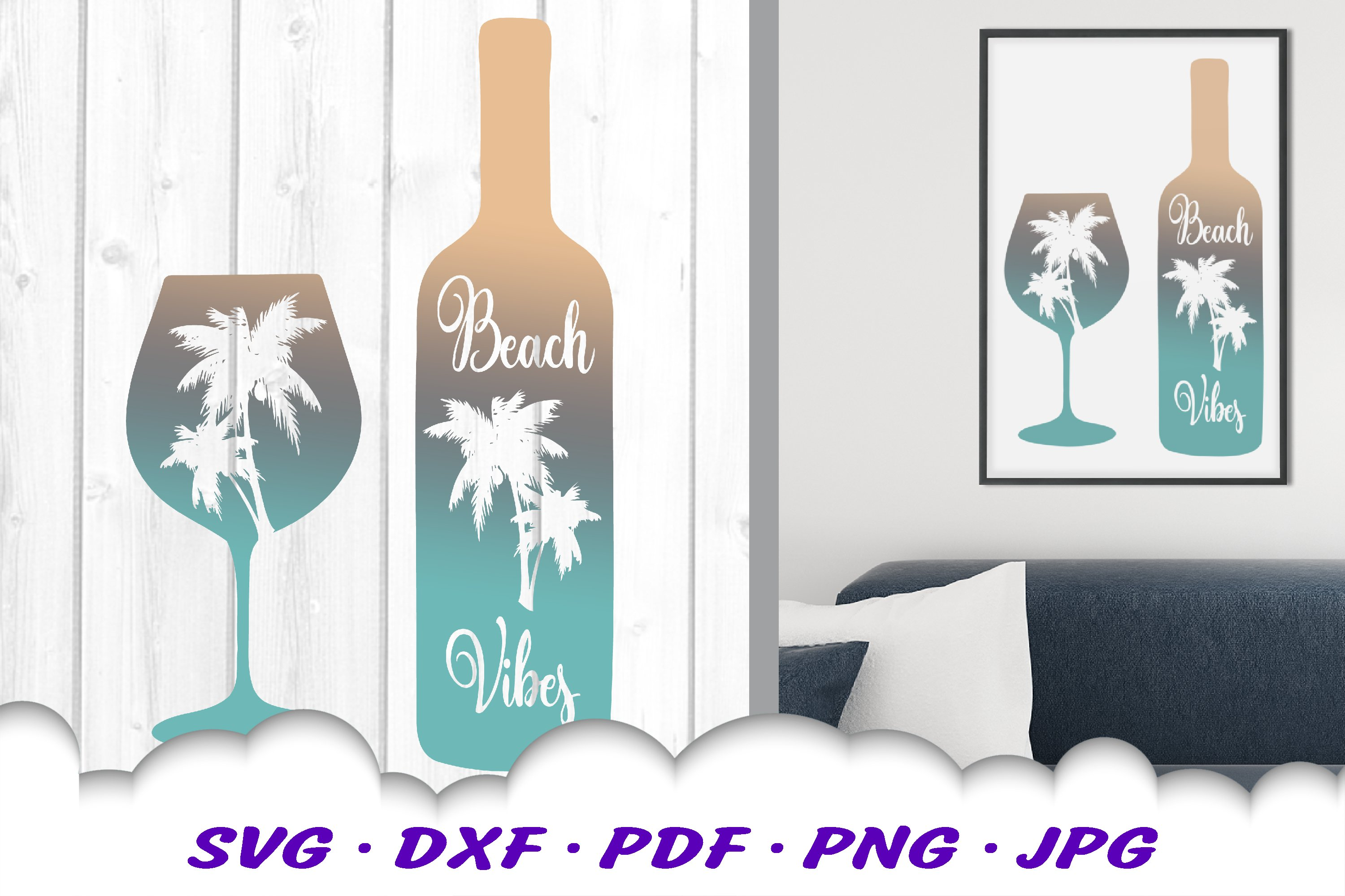 Beach Vibes Wine Bottle Glass SVG DXF Cut Files example image 1