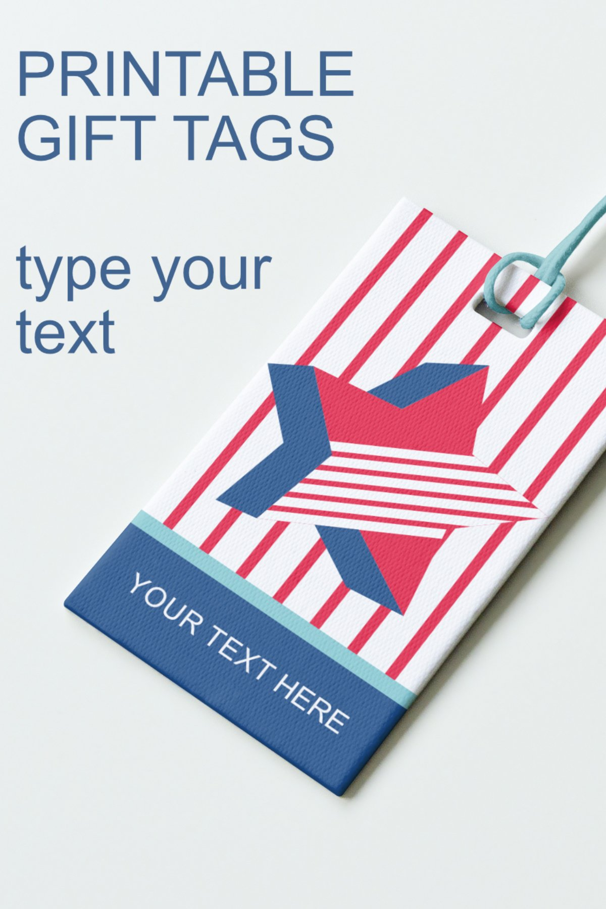 Patriotic Tags with Star Printable Editable PDF Tag Template example image 8