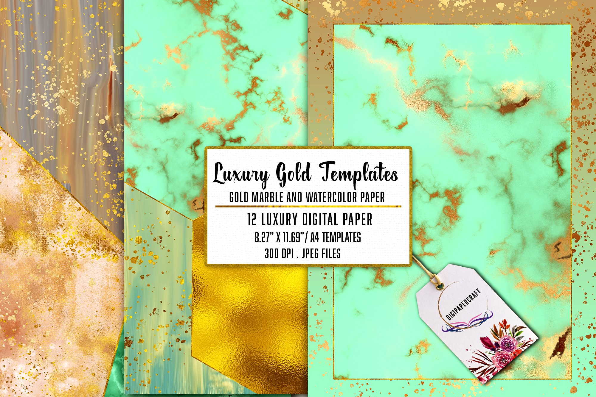 Gold Marble & watercolor geometric templates, Abstract Paper example image 5
