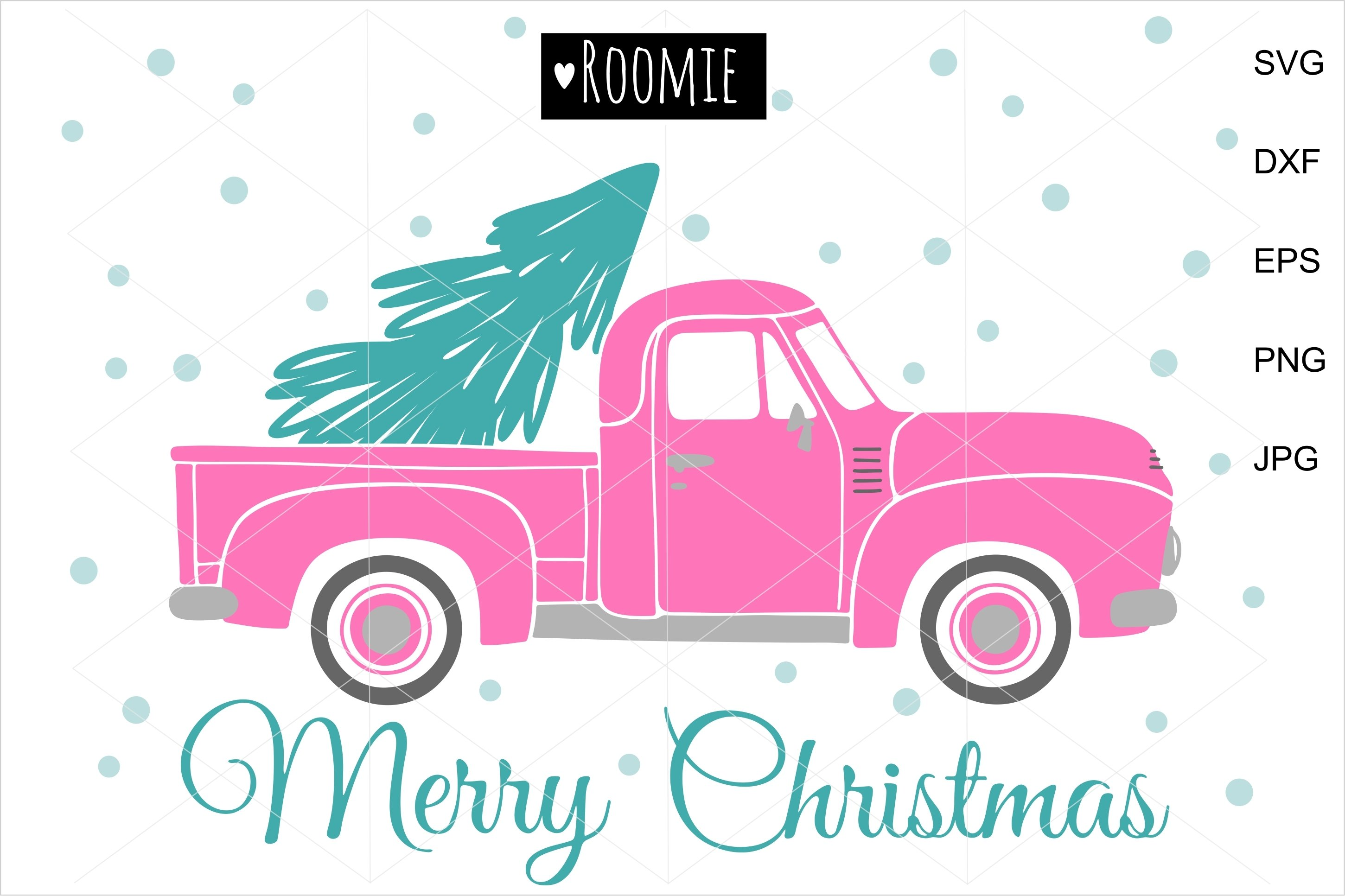 Merry Christmas Vintage Pink Retro Truck Christmas Tree Svg 976135 Cut Files Design Bundles