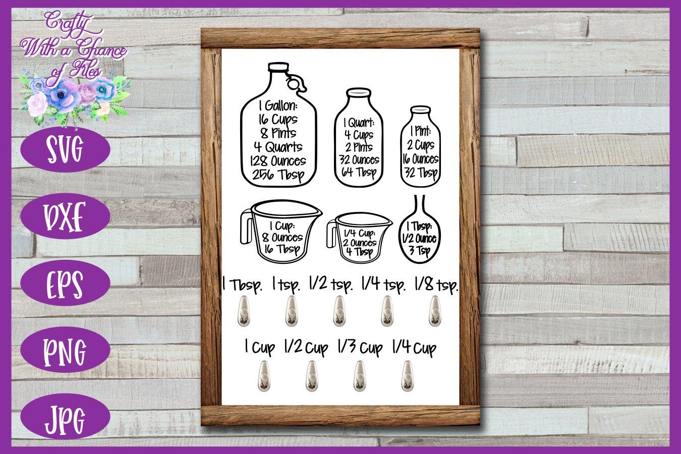 Download Kitchen SVG, Conversion Chart SVG, Baking Equivalents SVG ...