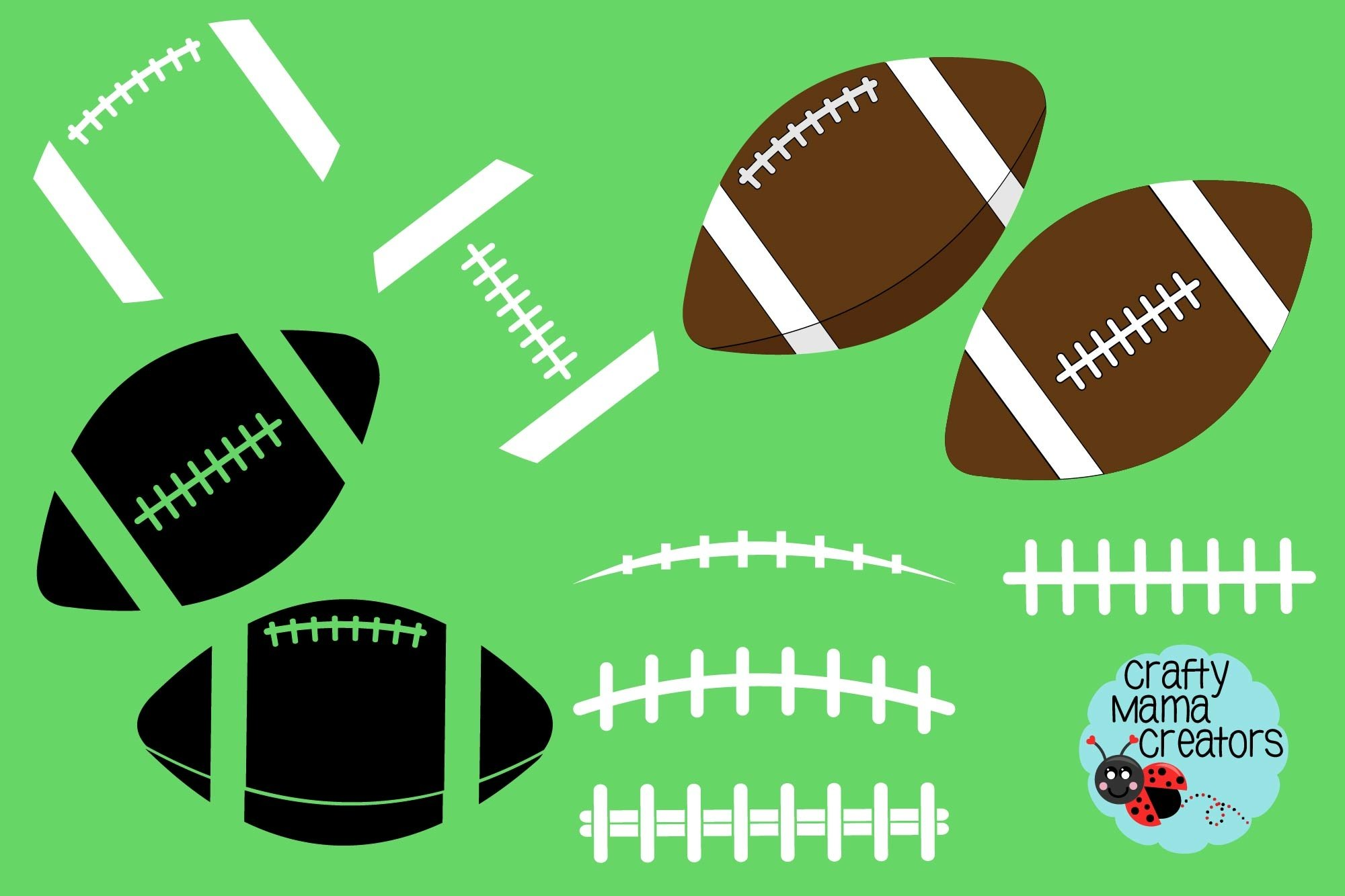 Football Bundle Svg, Football Silhouette Svg, Laces Svg example image 1