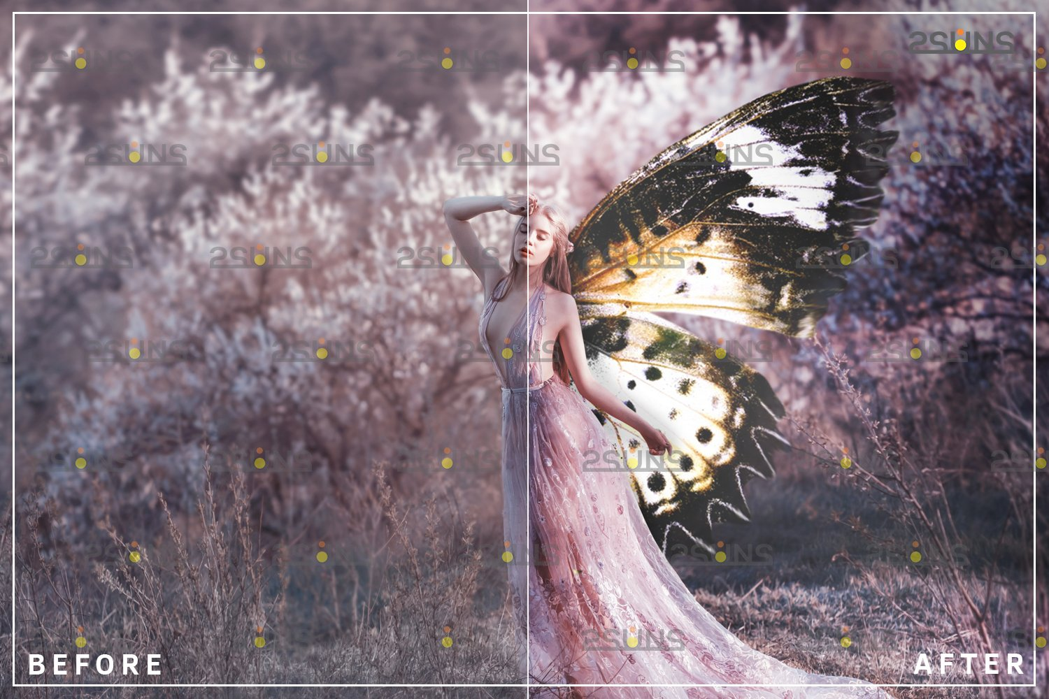 Colorful Butterfly Wings Photoshop Overlay example image 6