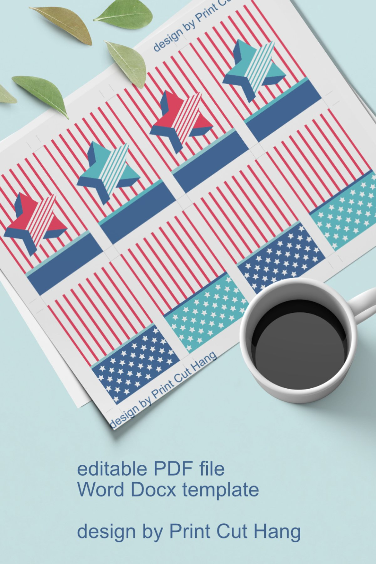 Patriotic Tags with Star Printable Editable PDF Tag Template example image 7