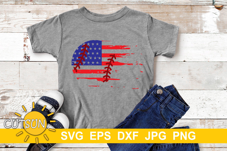 Baseball Distressed US Flag   Baseball Brushstroke SVG example image 2