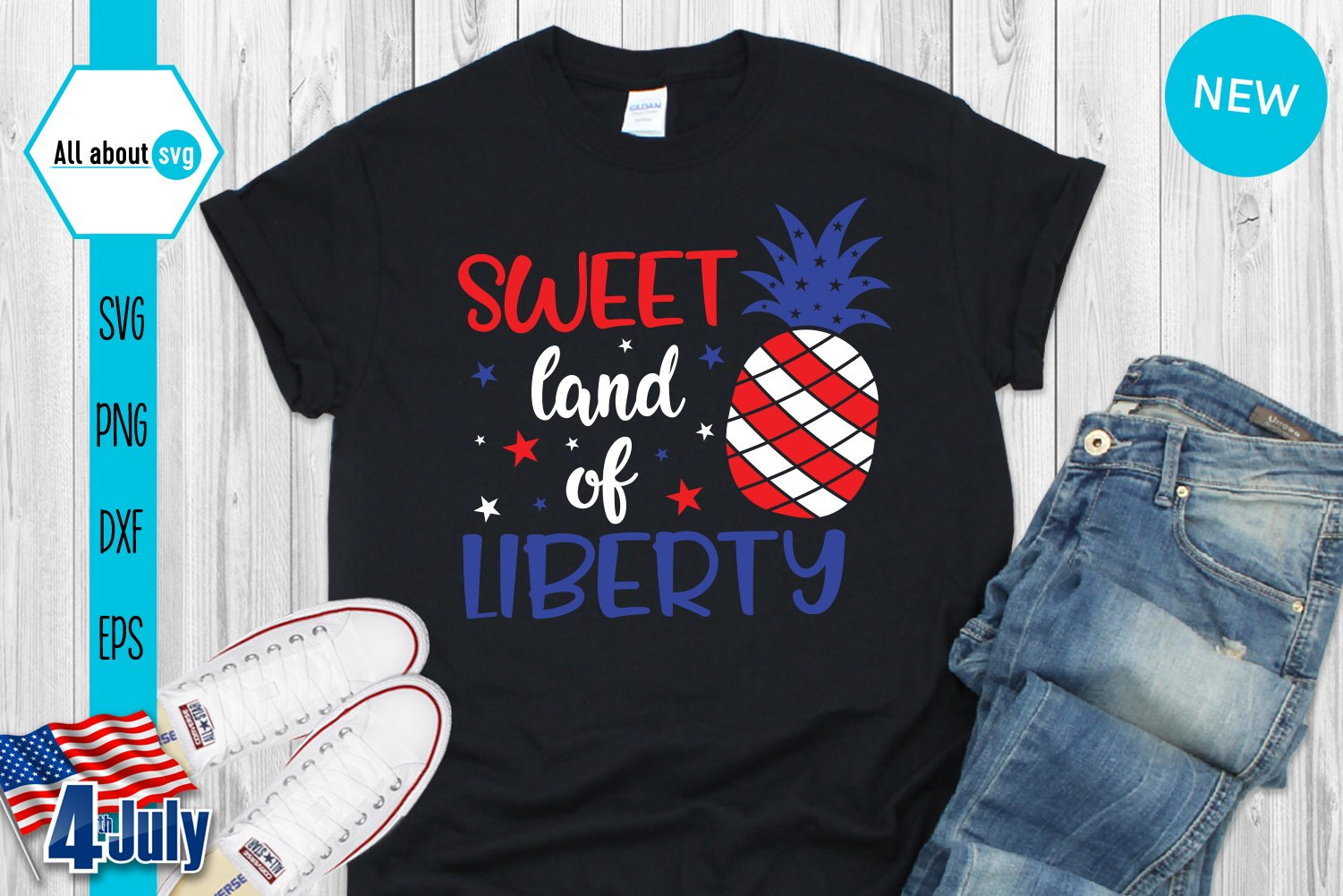 View 4Th Of July Svg Cut File: Sweet Land Of Liberty Design