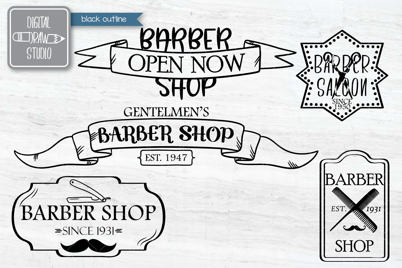 Hand Drawn Barber Shop Logo| Retro Hairdresser | Esp Svg Png example image 4