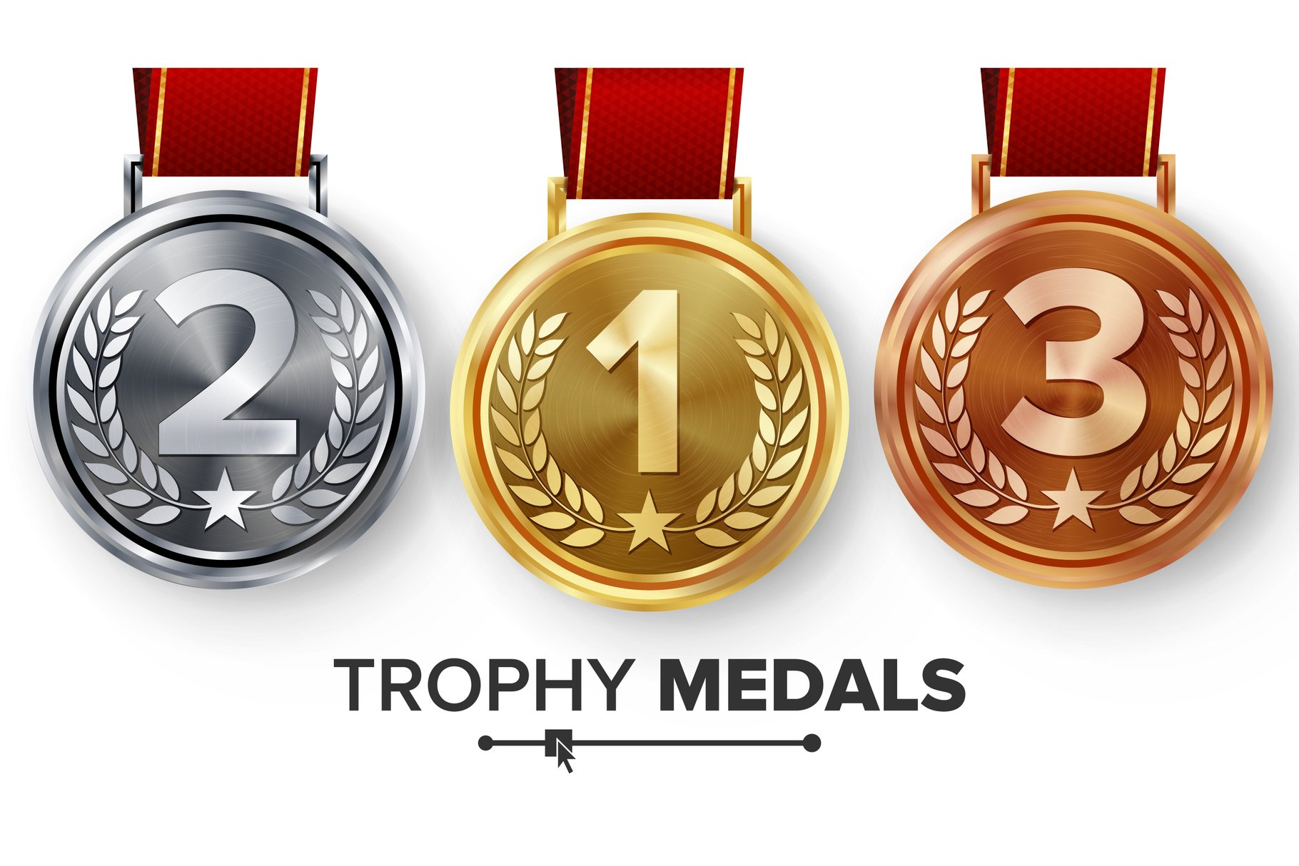 Champion Medals Set Vector. example image 1