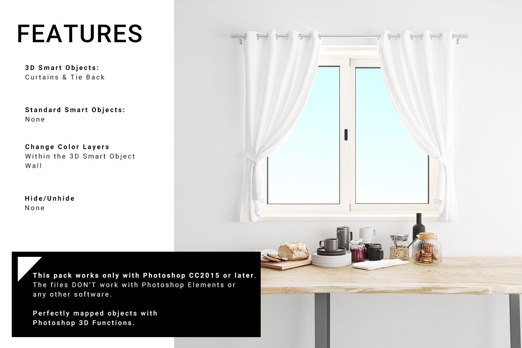 Kitchen Short Curtains Mockup Set example image 2