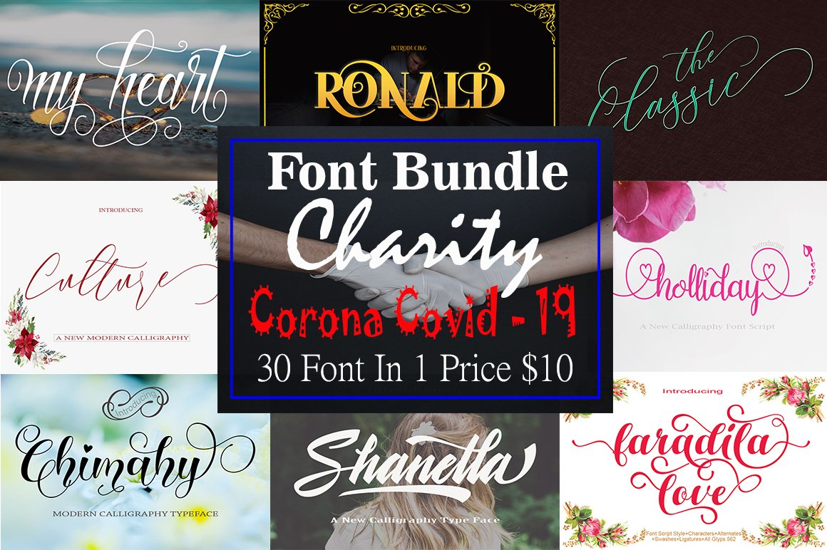 Font Bundle Charity Corona Covid - 19 example image 1
