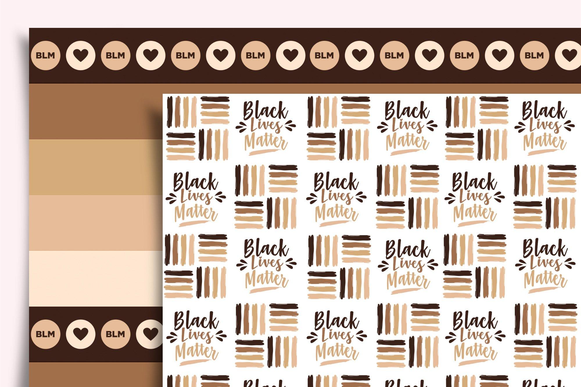 JPG brown hearts seamless pattern PNG blm digital paper Black lives matter digital paper