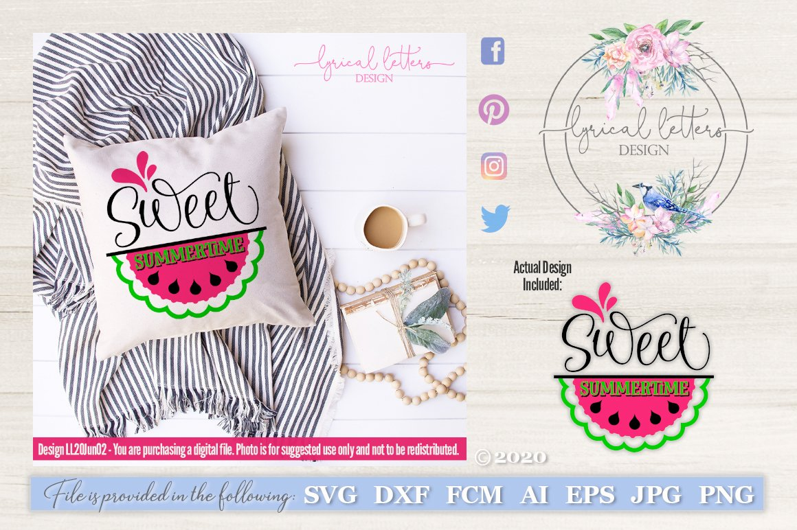 Sweet Summertime Watermelon SVG DXF Cut File LL20Jun02 example image 1