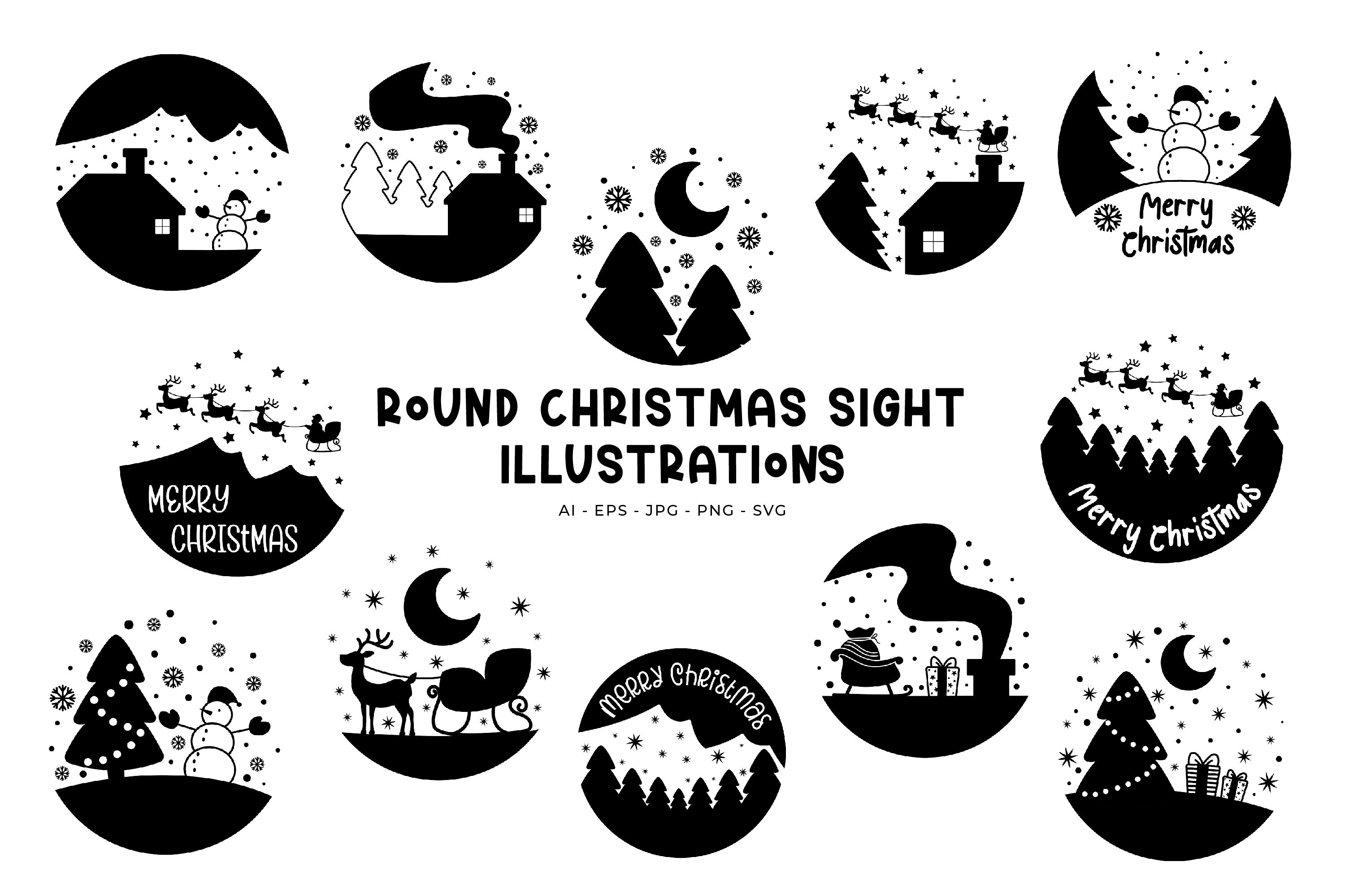Round Christmas Sights illustrations example image 1