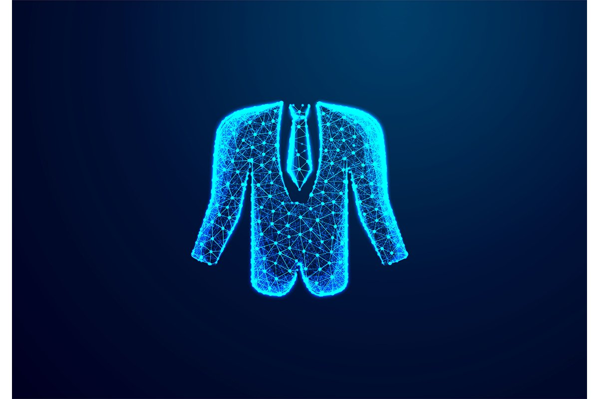 Tuxedo, Business man cloth. Abstract low poly, Triangle, dot example image 1
