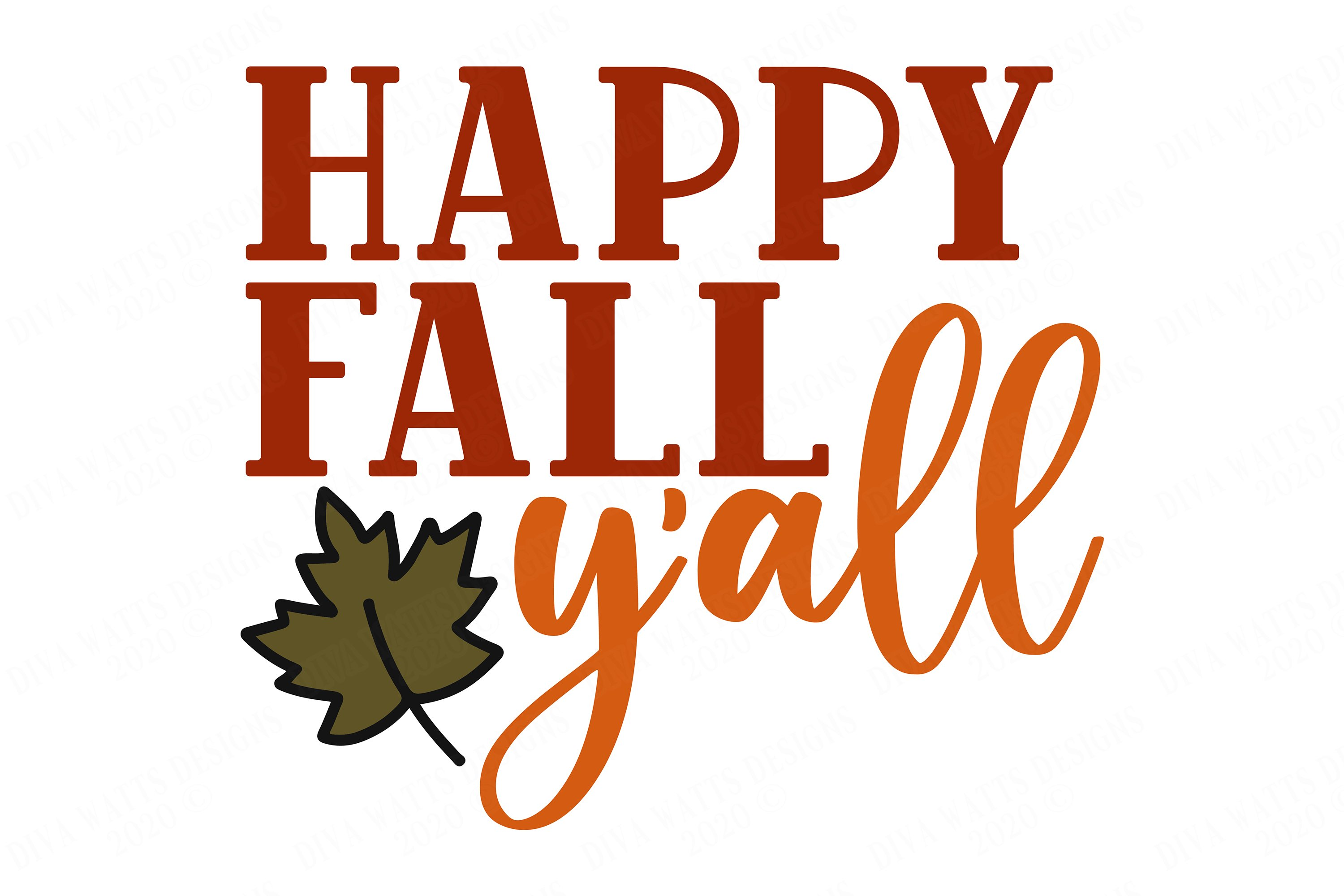 Happy Fall Y'all - Autumn Halloween Thanksgiving Design example image 2