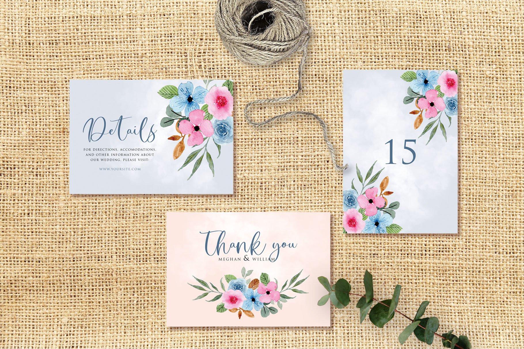 Blue Pink Flower Wedding Invitation Set example image 3