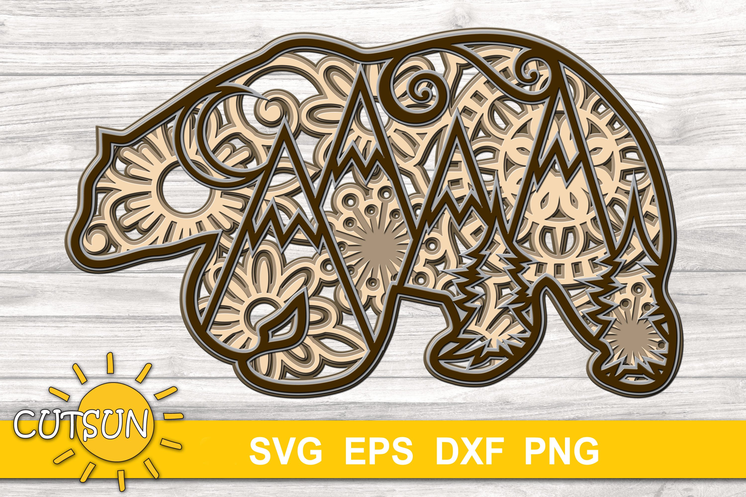 Download 3D Layered Bear Mandala cut file for crafters 5 layers ...
