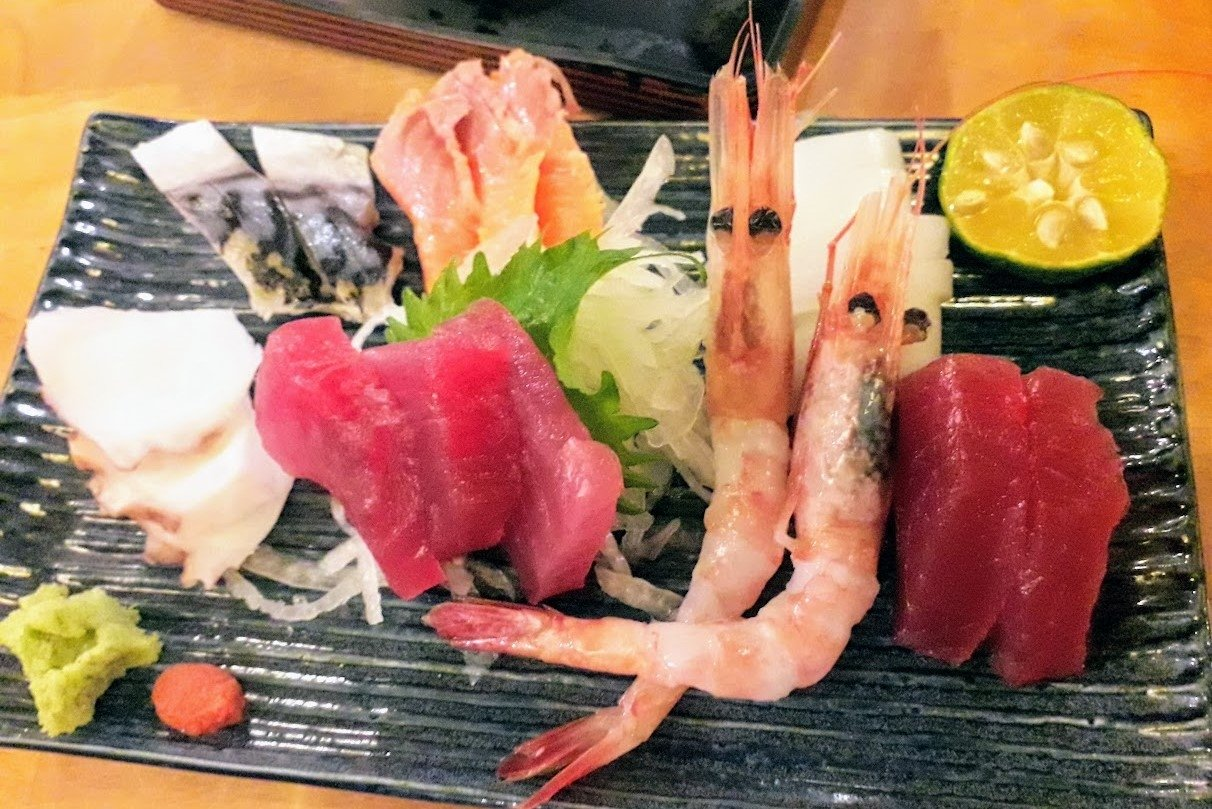Sushi photos Sashimi with shrimp on Okinawa, Japan example image 1