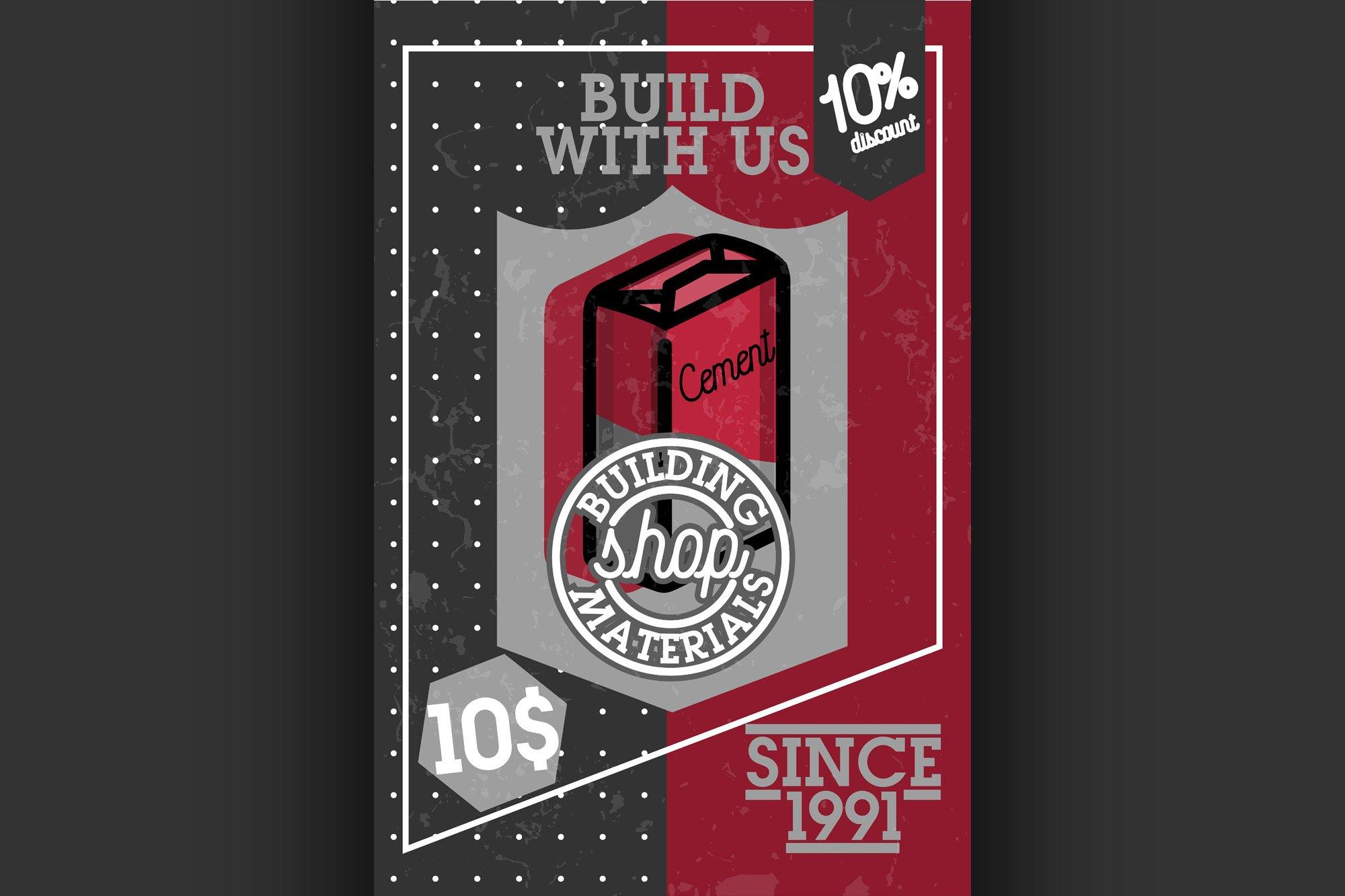 Color vintage building materials shop banner example image 1