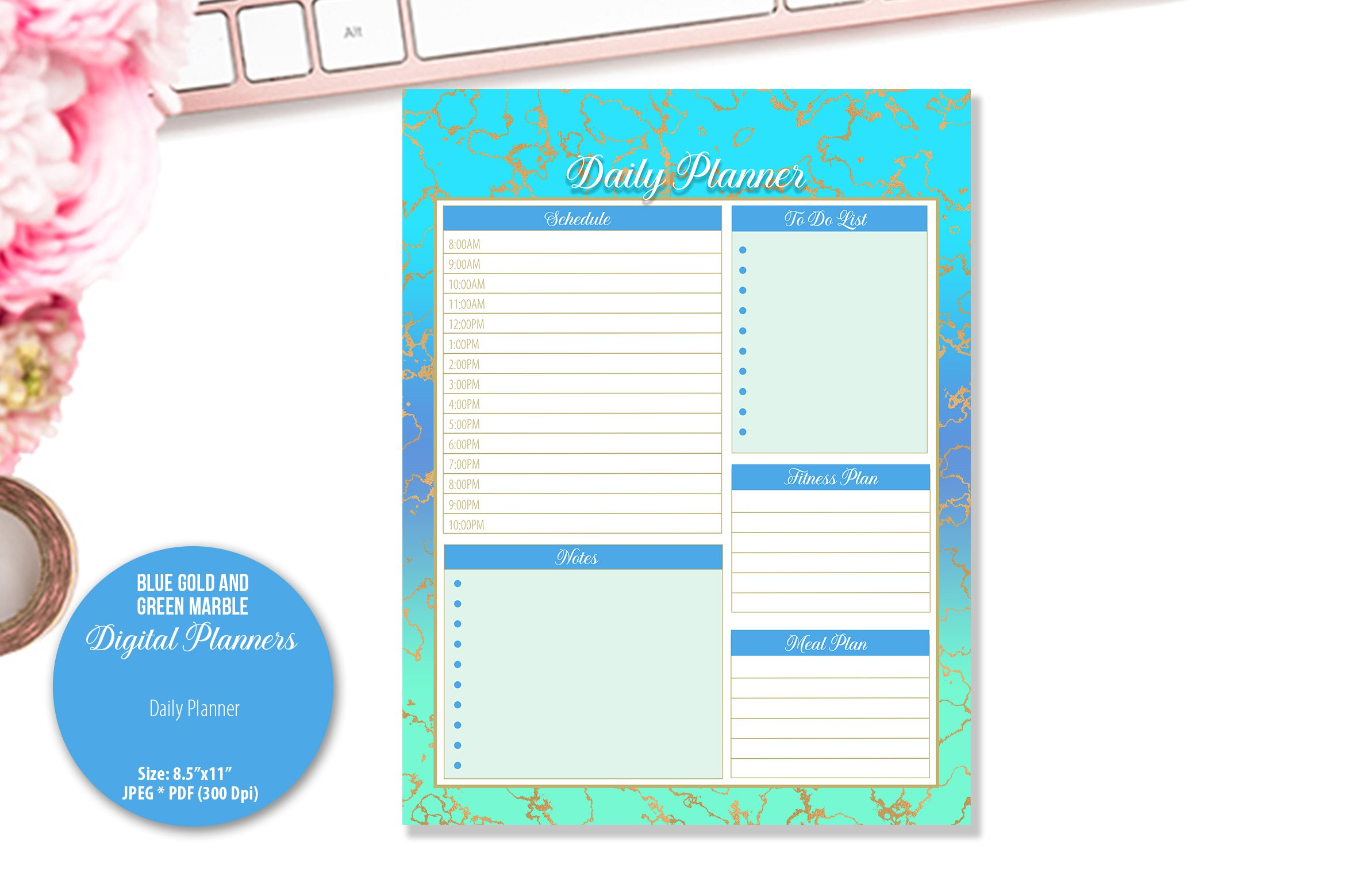 Blue Gold and Green Marble Digital Planner example image 2