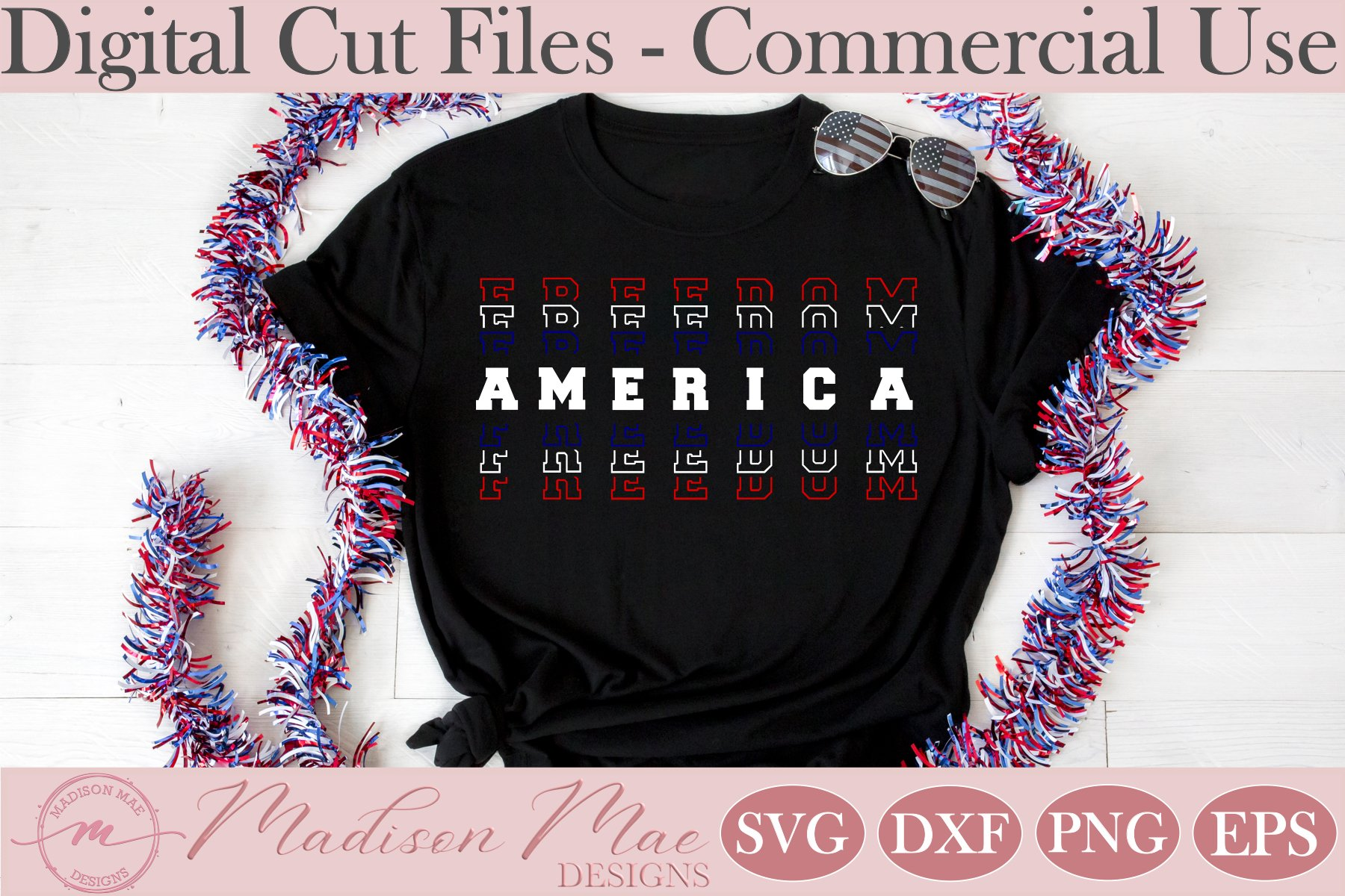 Fourth Of July SVG, America Freedom Stacked Words example image 3