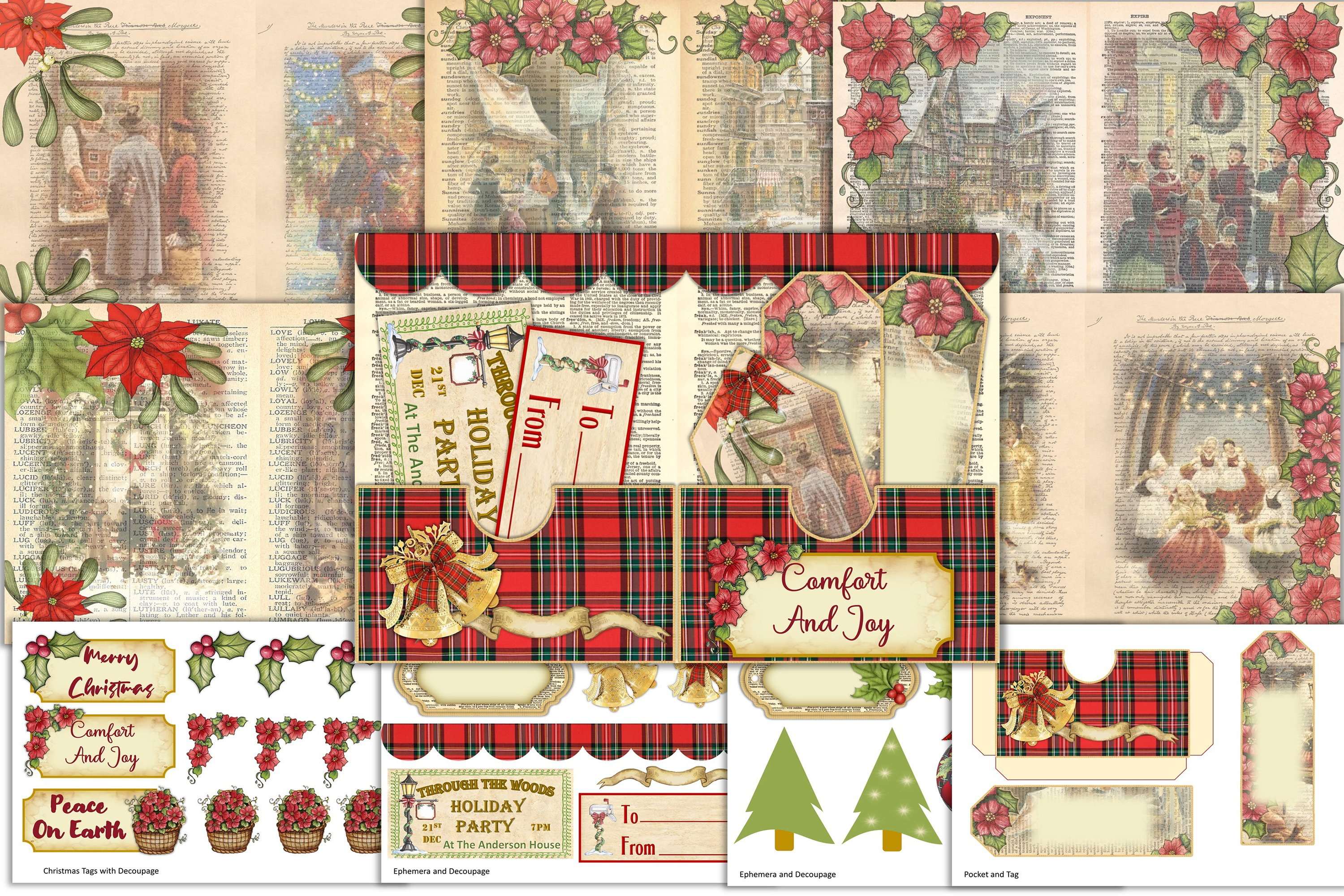 Victorian Christmas Backgrounds and Clipart JPEG PNG PDF example image 1