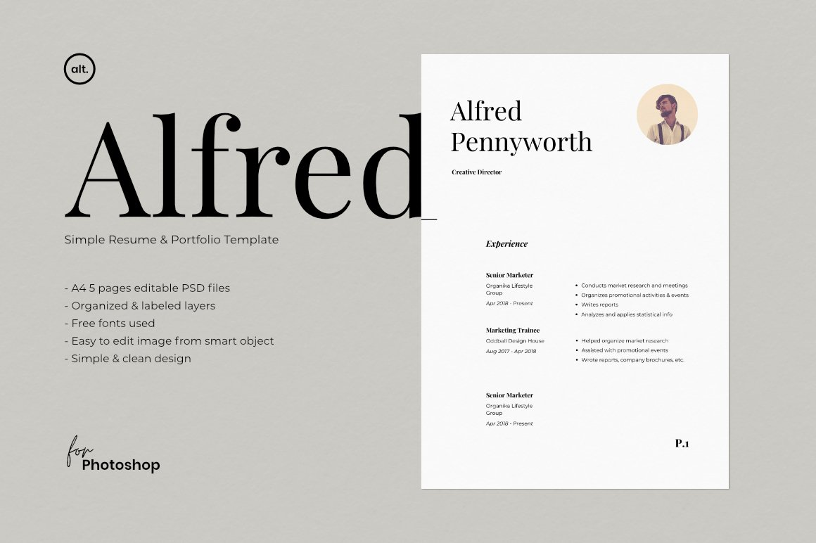 Resume & Portfolio Template - Alfred example image 1