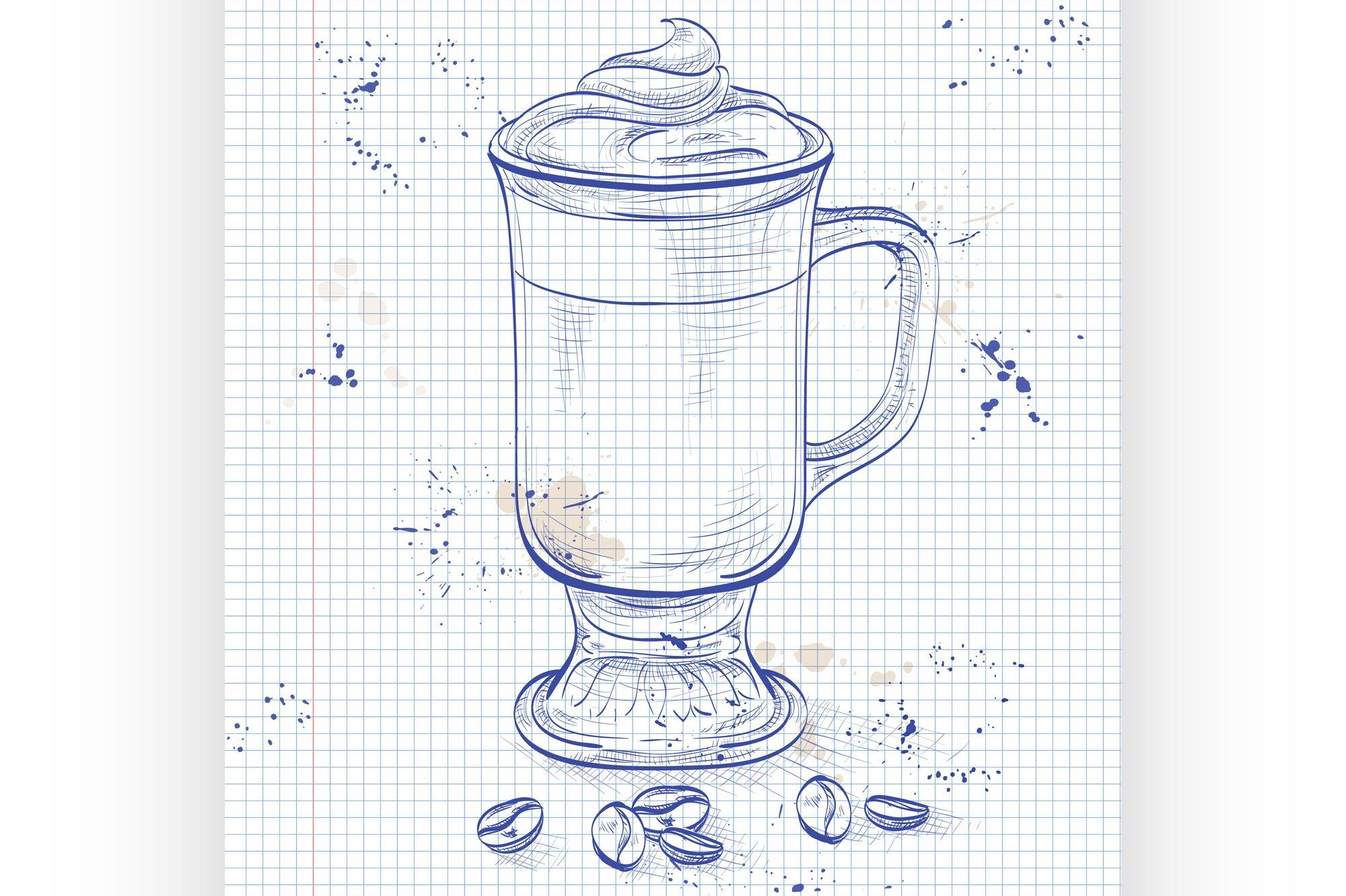 Irish cream coffee on a notebook page example image 1