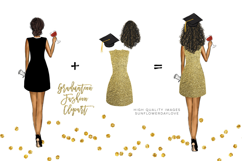 College Senior Graduation Girl Gold Fashion clipart example image 5