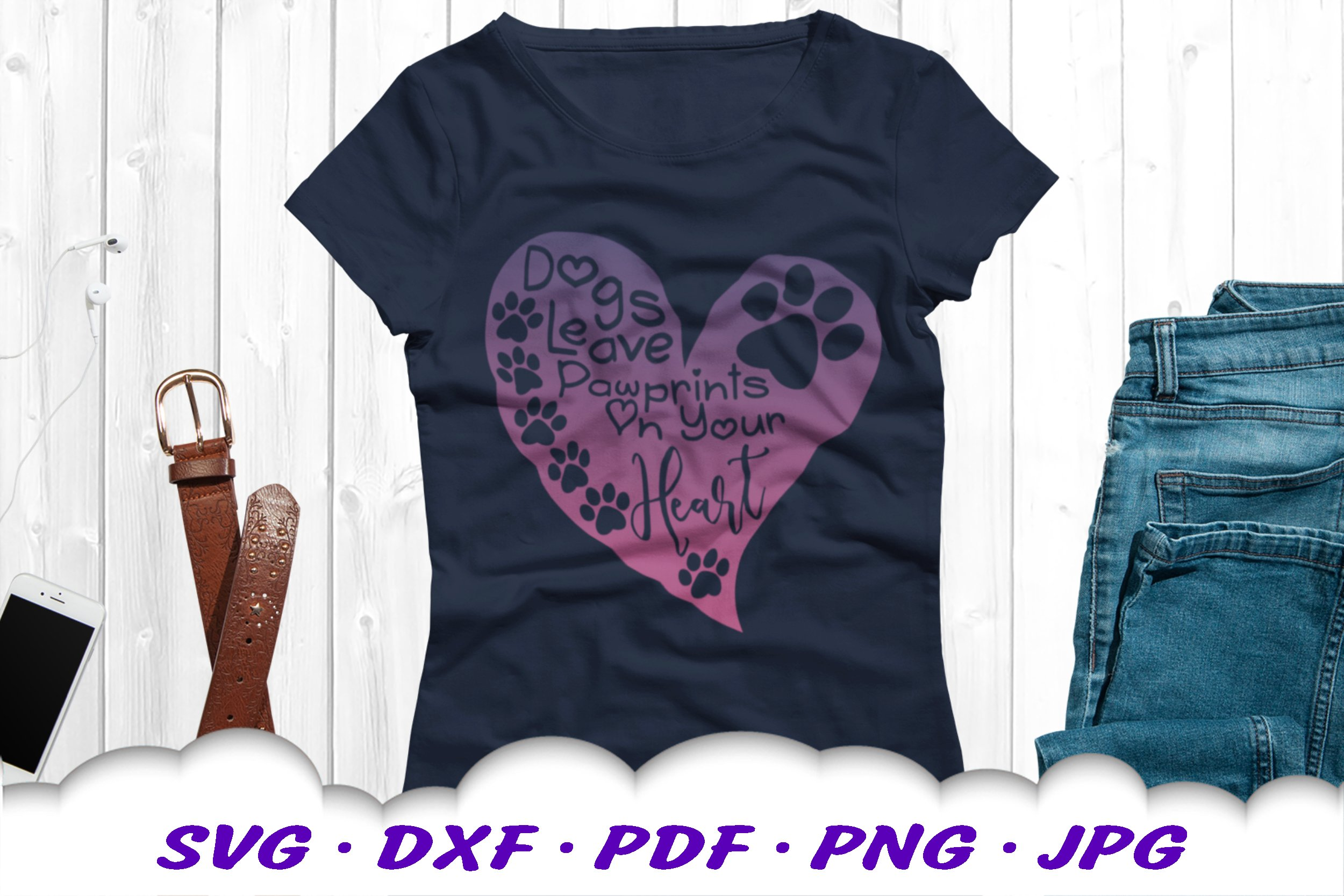 Dog Mom Paw Print Quote Heart SVG DXF Cut Files example image 5